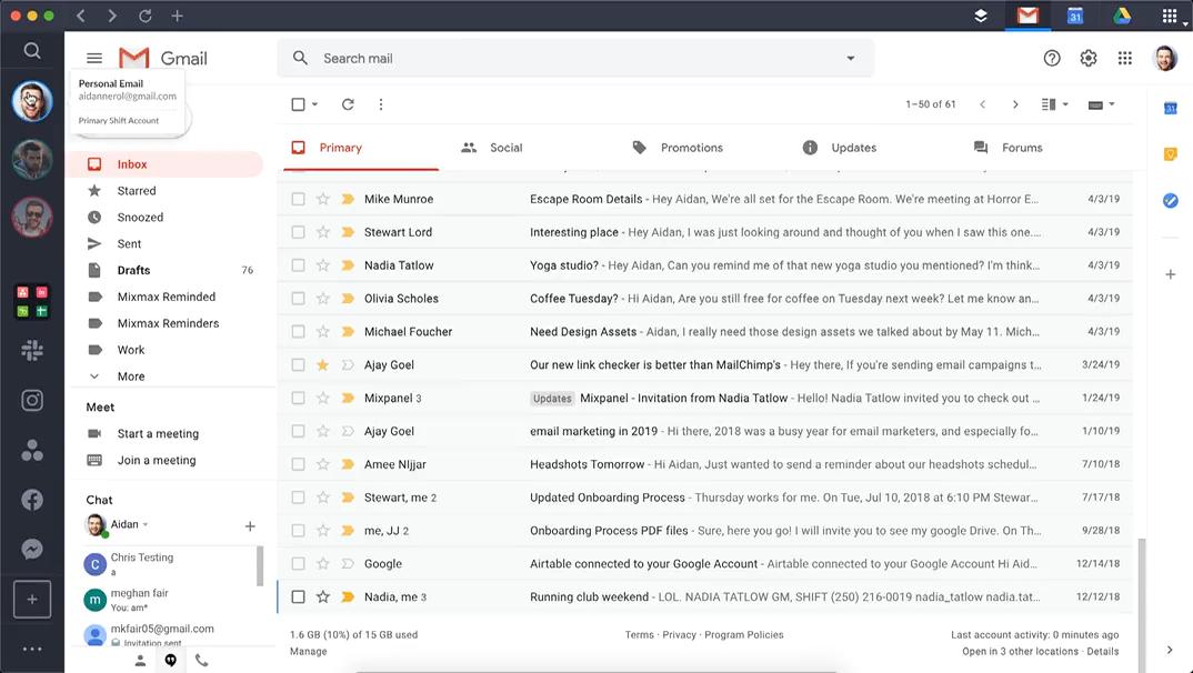 Shift Gmail